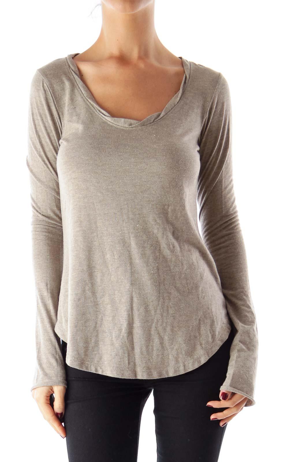 Taupe Metallic Shirt Front