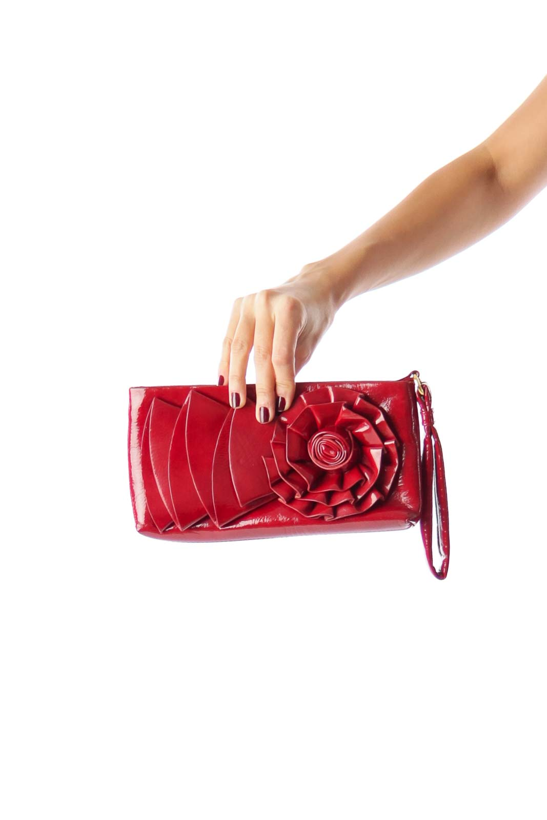 Red Flower Clutch Front