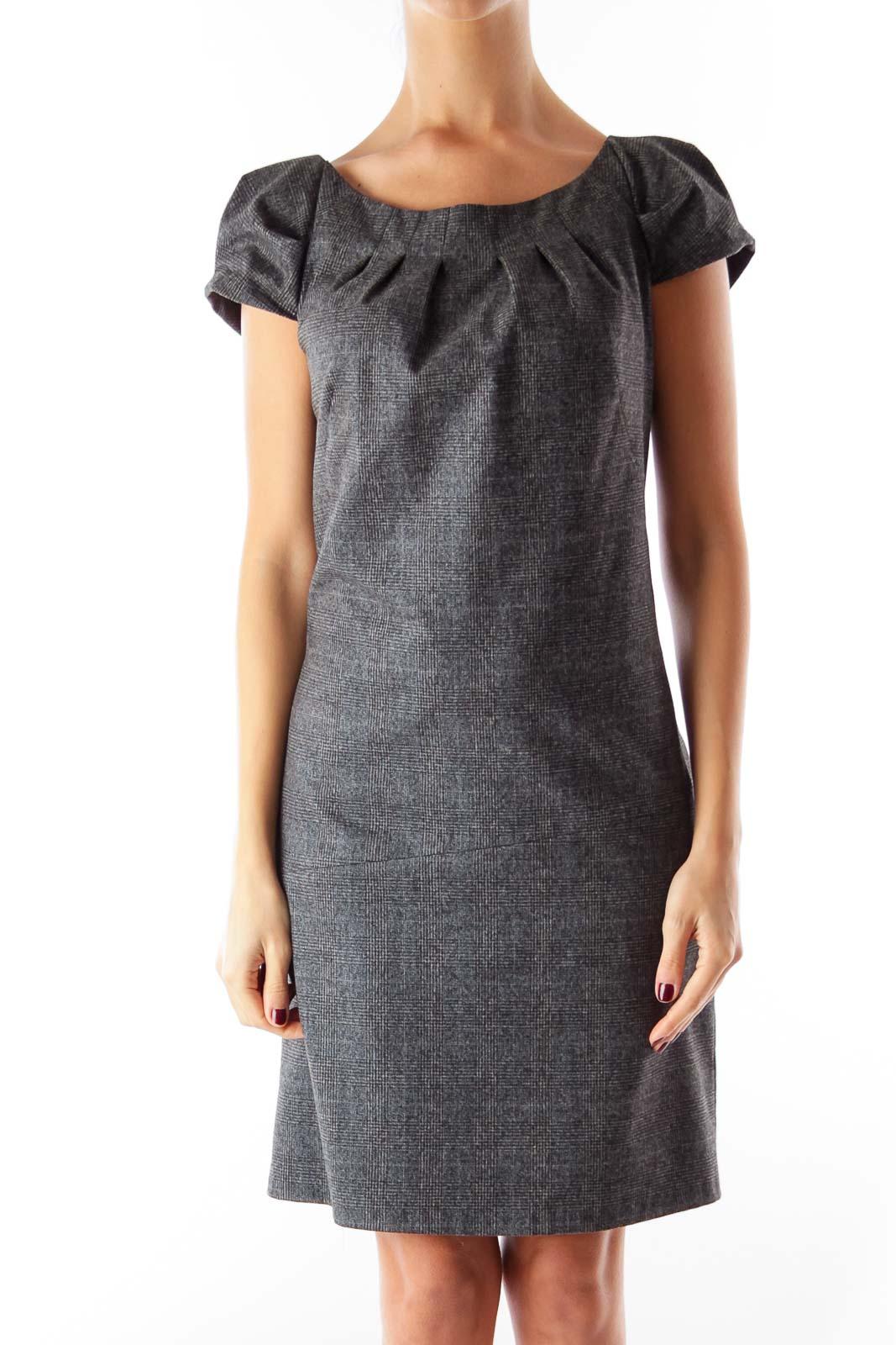 Dark Gray Plaid Dress Front