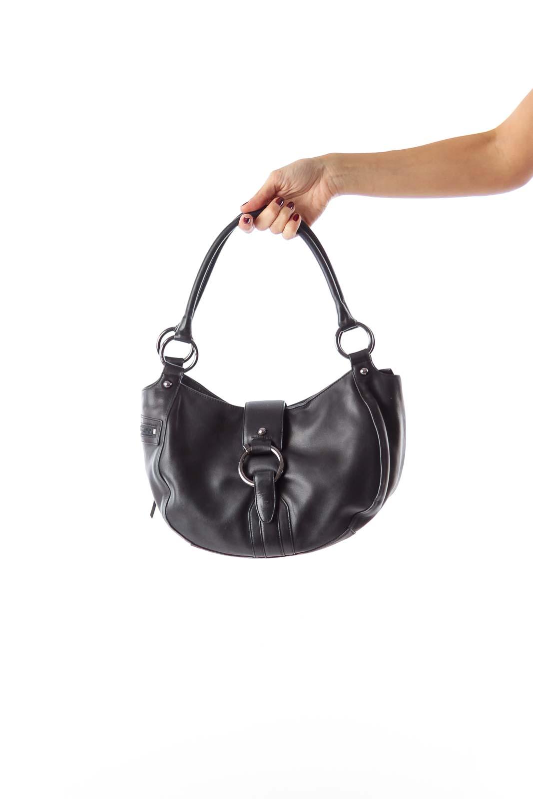 Black Round Metal Bag Front