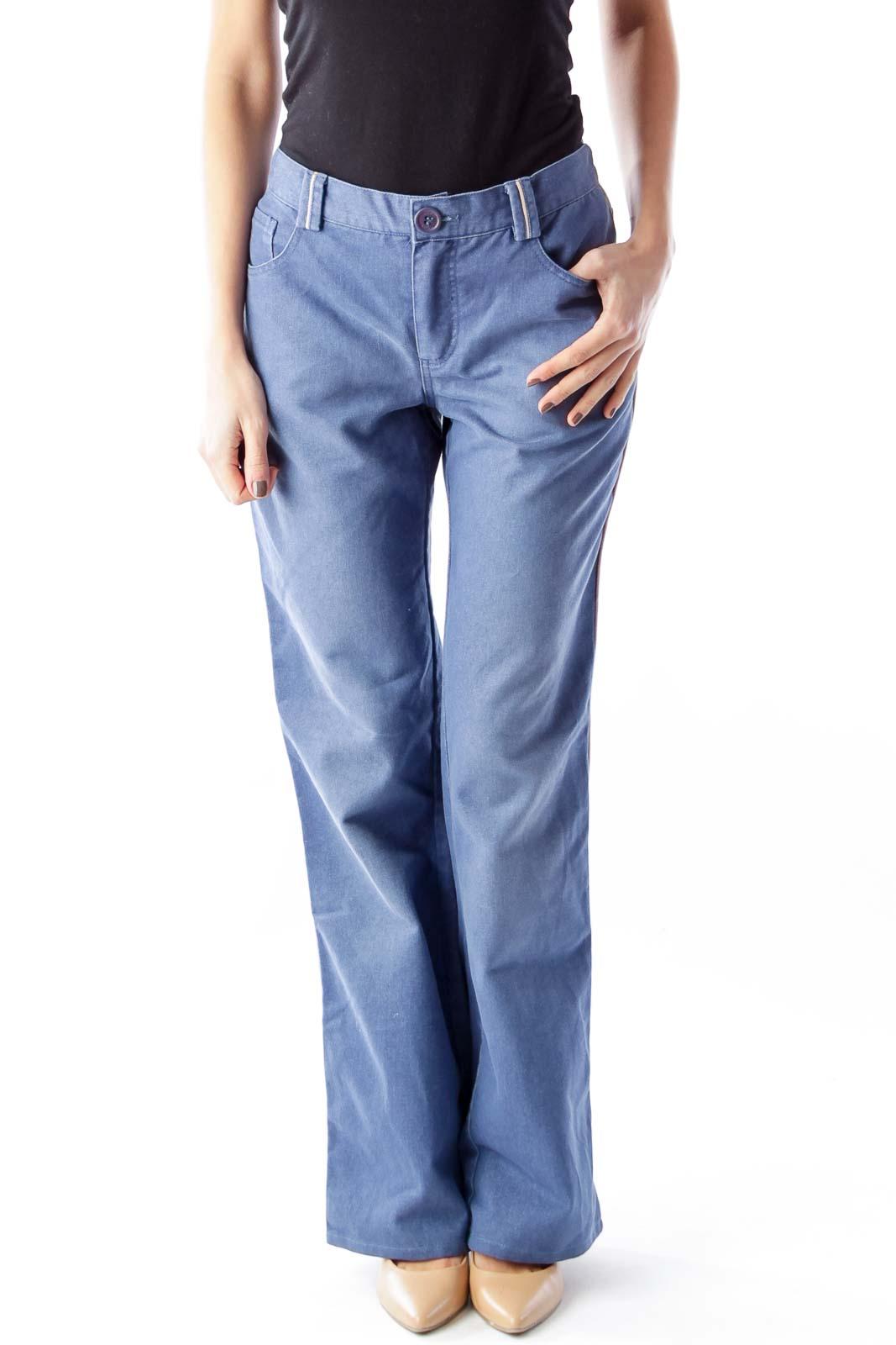 Blue High Waist Wide Leg Jeans Front