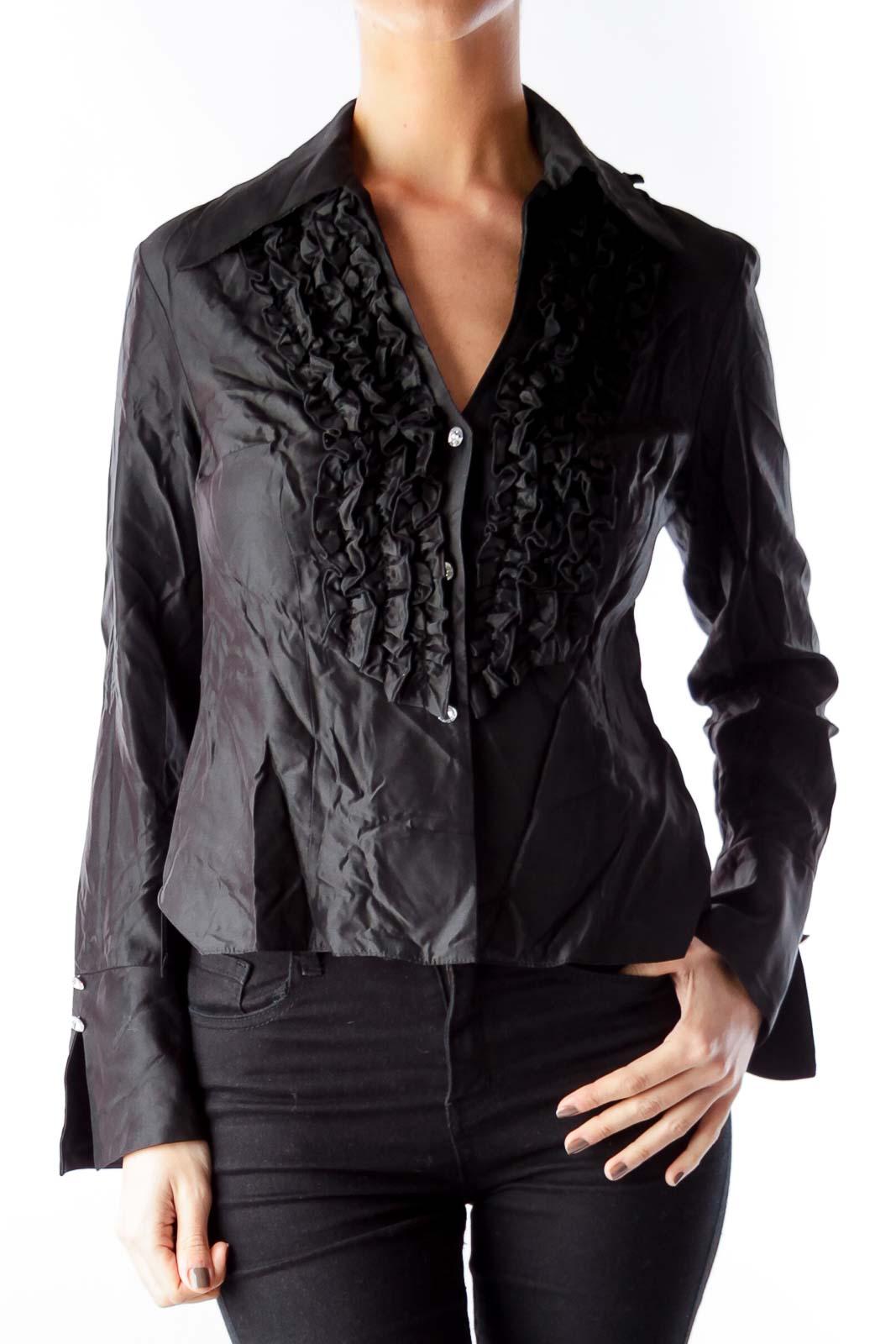 Black Ruffle Detail Shirt Front