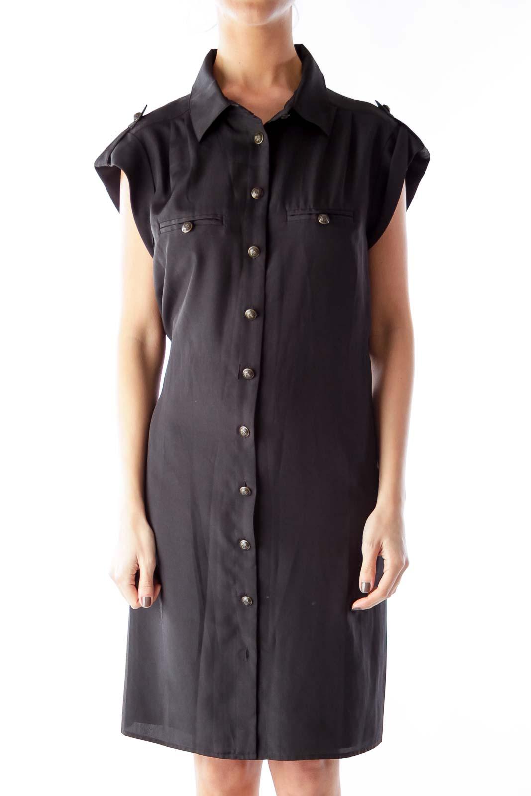 Black Button Down Shift Dress Front