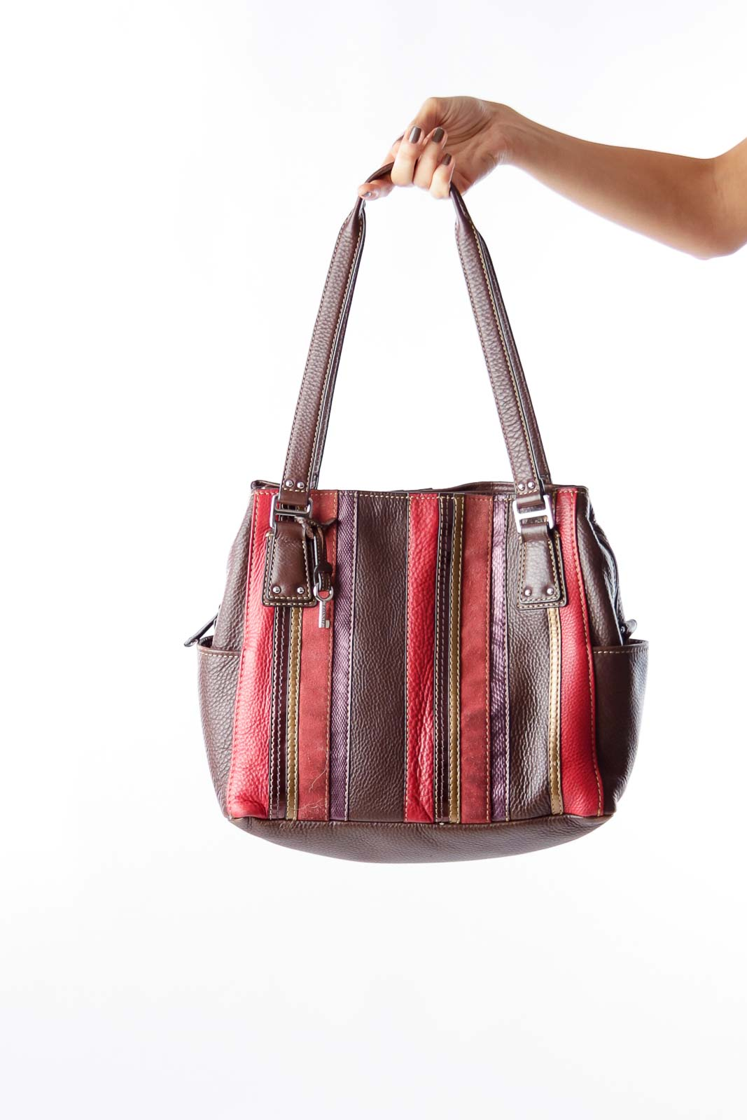 Brown Color Stripes Handbag Front