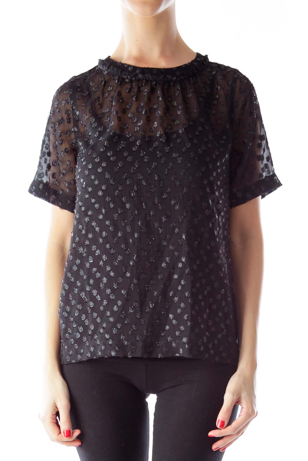 Black Metallic Polka Dot Blouse Front