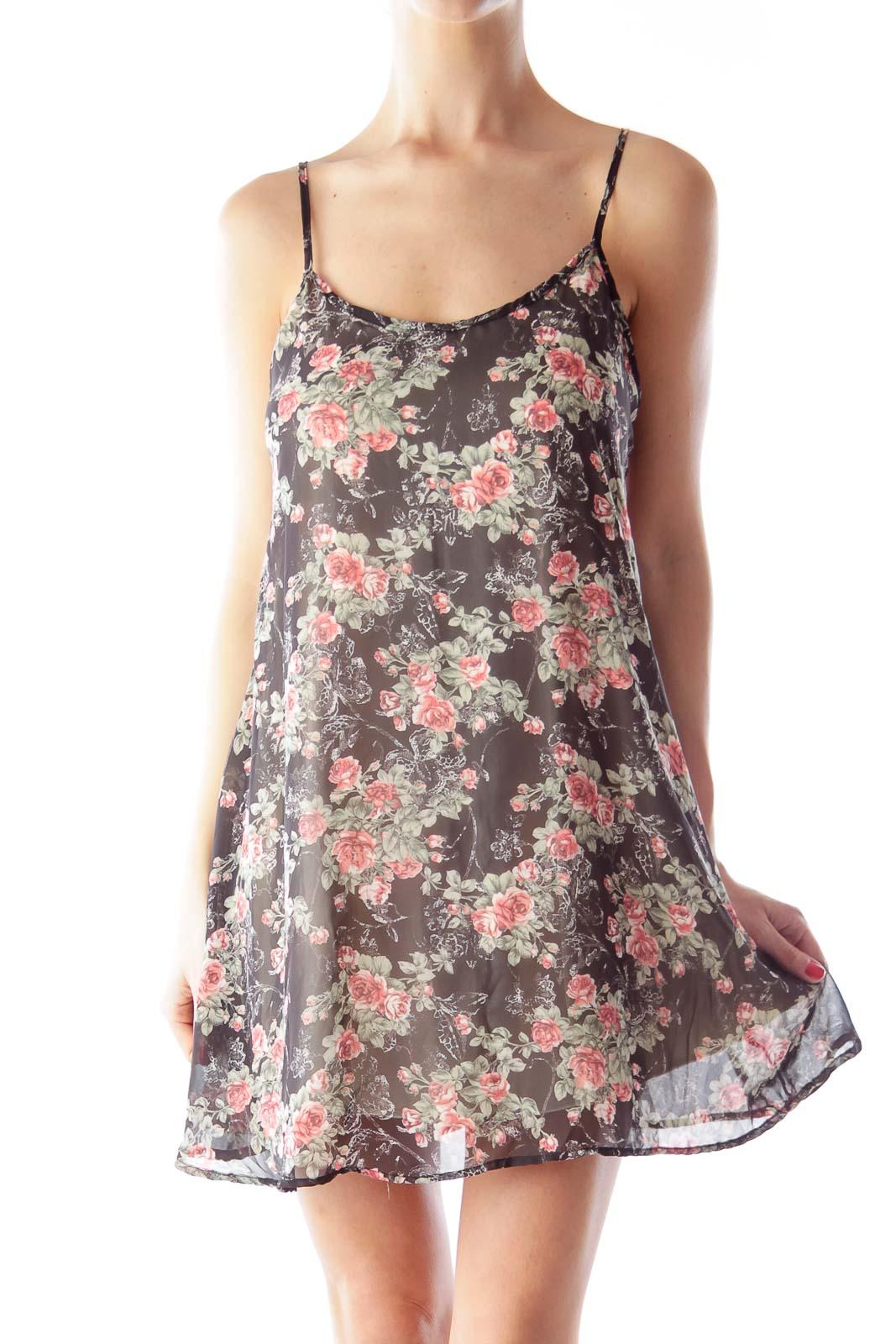 Floral A Line Mini Dress Front