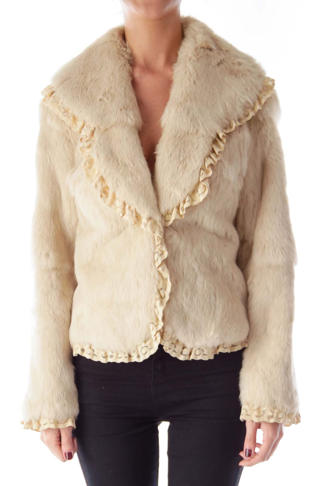 Cream Fur and Lace Jacket Front