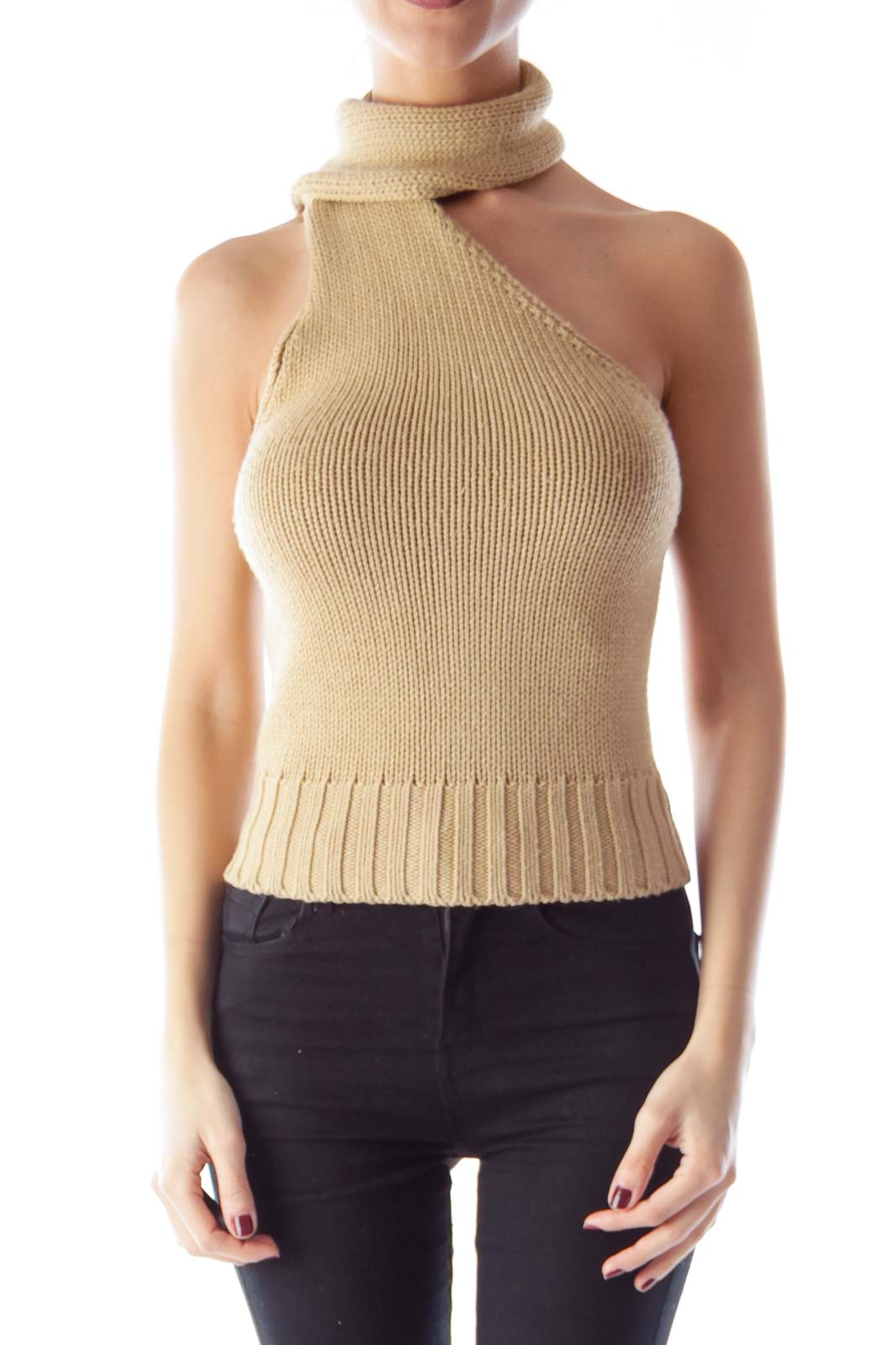 Khaki Knit Scarf Top Front