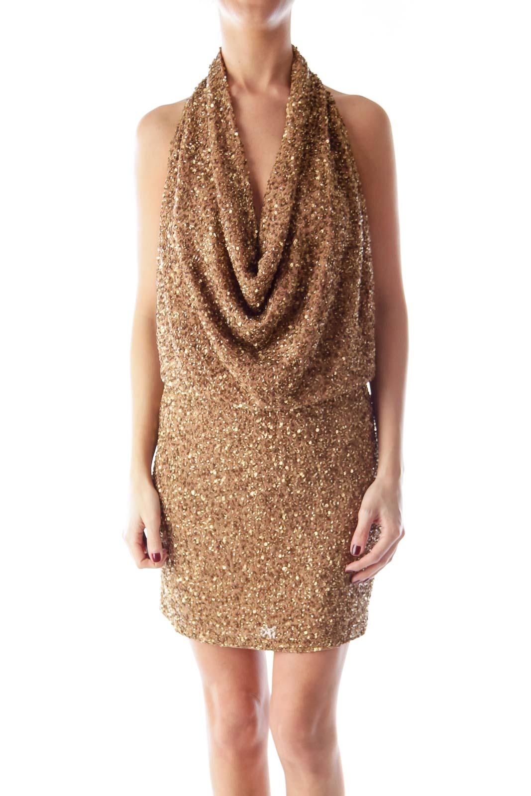Gold Embellished Halter Dress Front