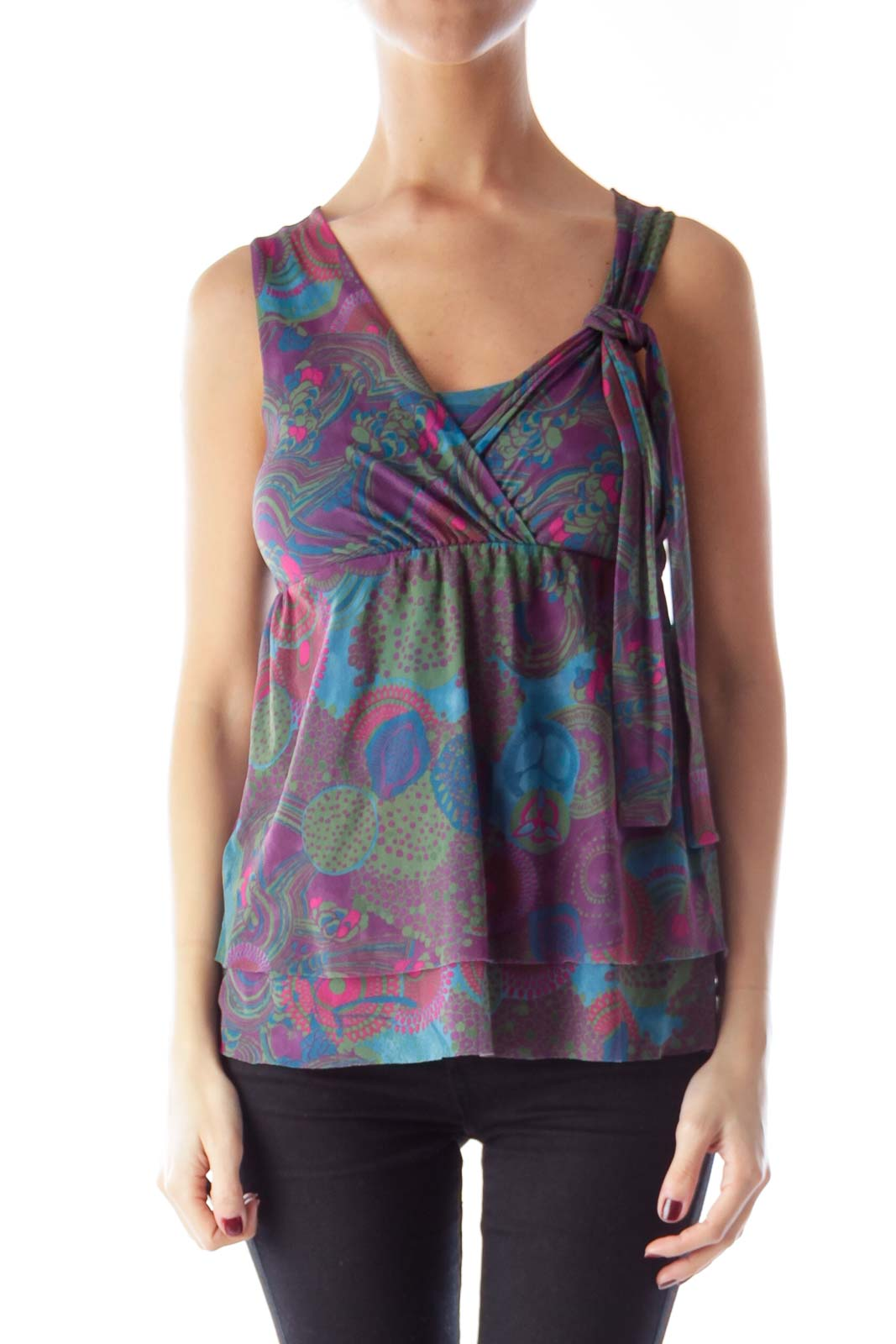 Purple Print Wrap Top Front
