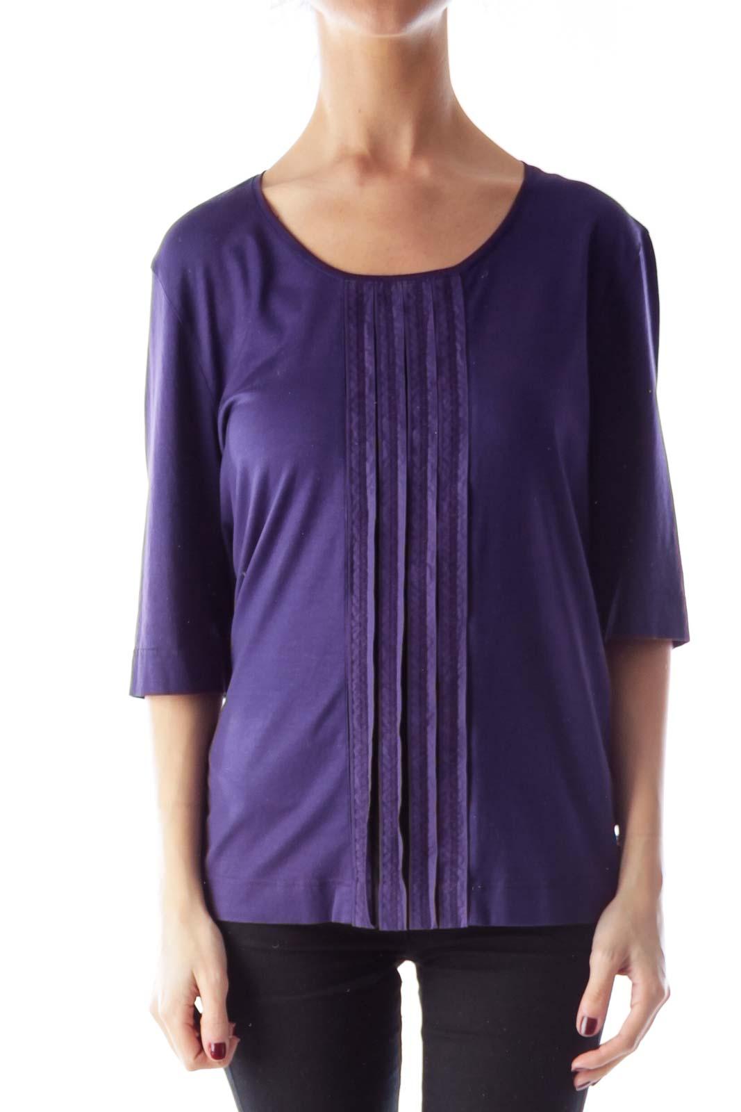 Purple Trim Detail Shirt Front