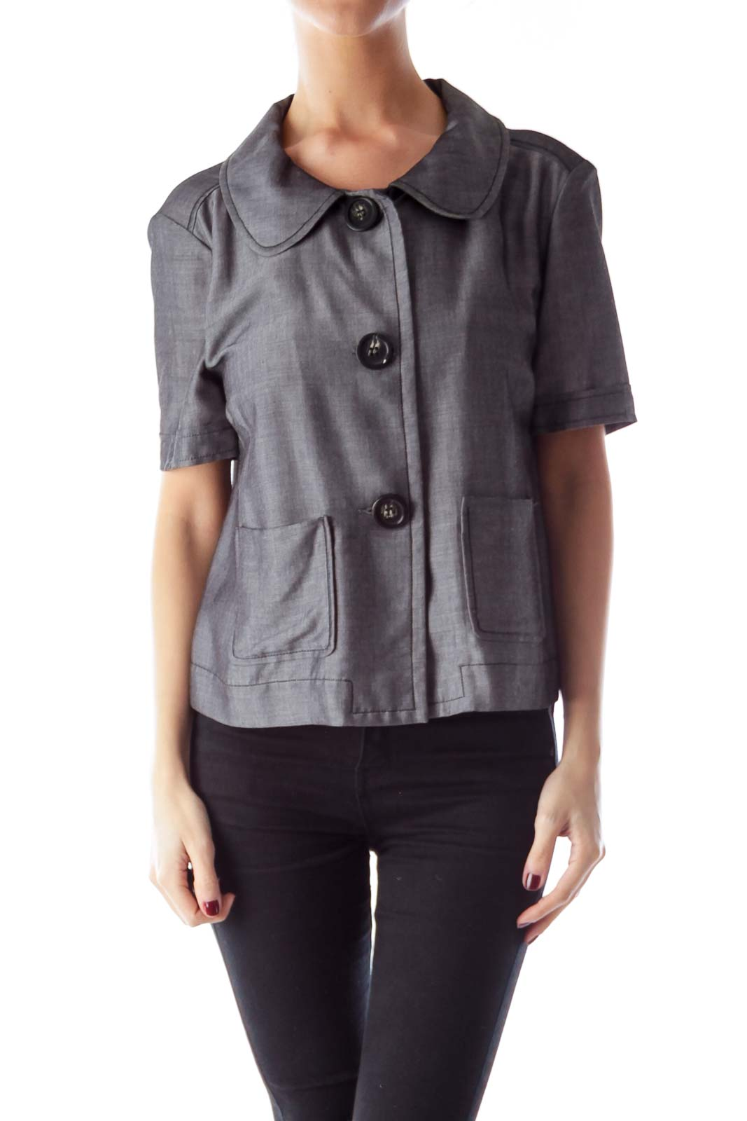Gray Button Shirt Front
