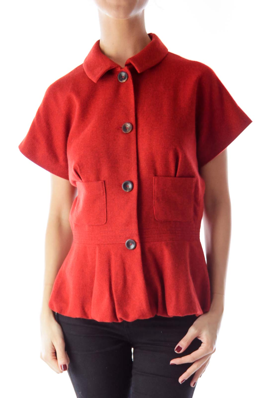 Orange Short Sleeve Peplum Jacket Front
