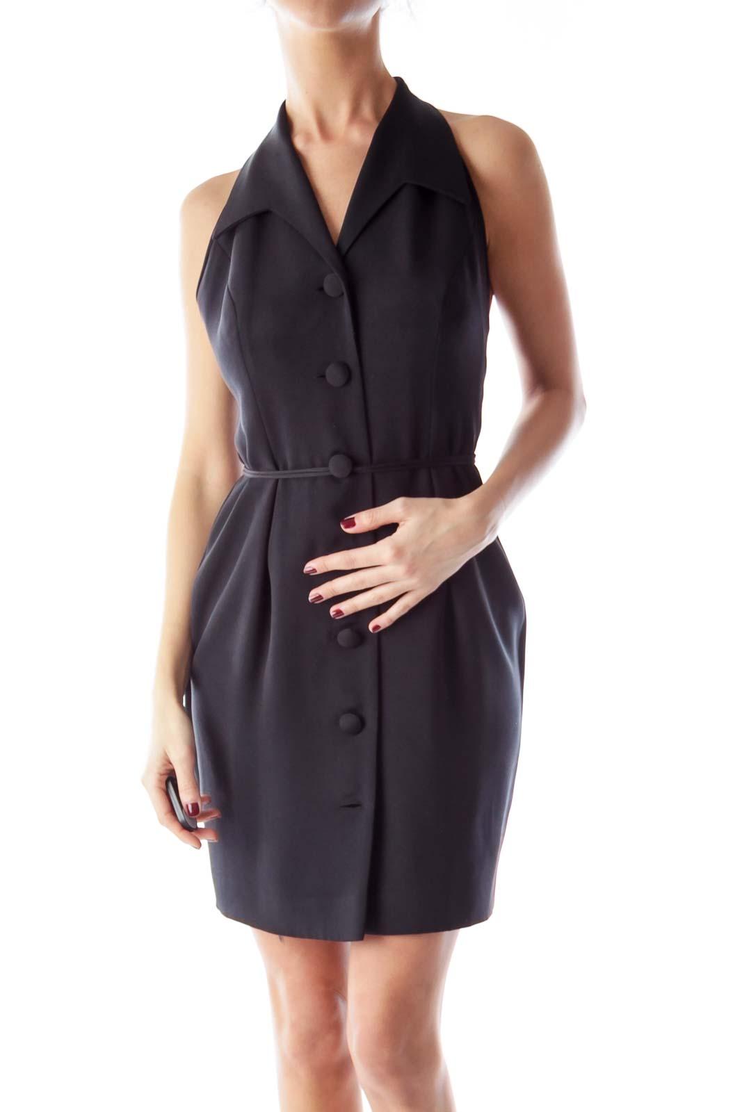 Black Tuxedo Halter Dress Front