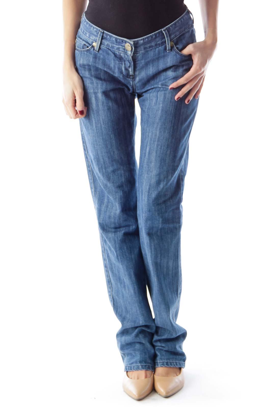 Blue Washed Straight Jeans Front
