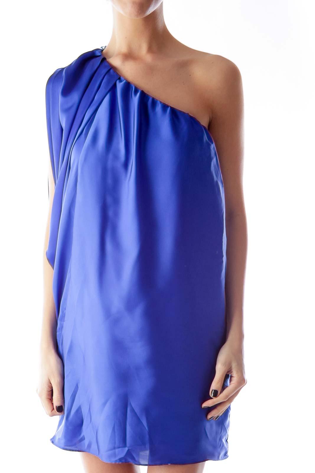 Blue One Shoulder Satin Dress Front
