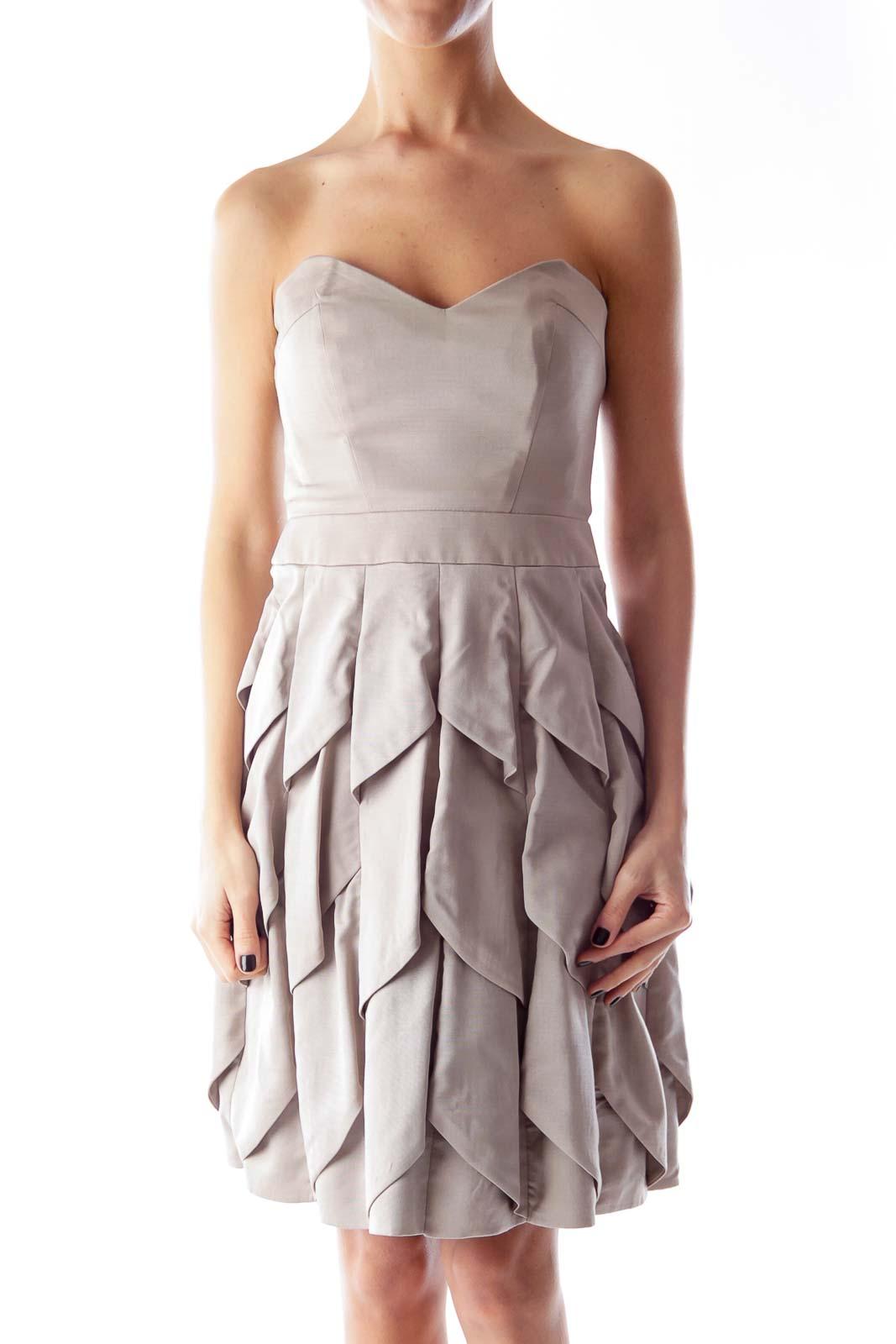 Beige Strapless Layer Dress Front