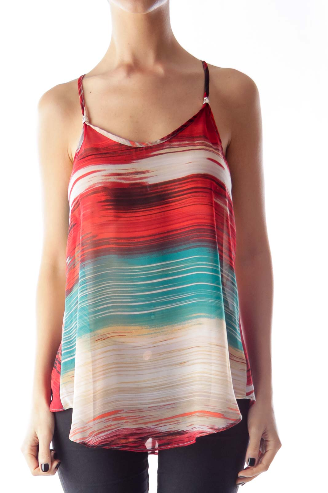 Red & Green Print Tank Top Front