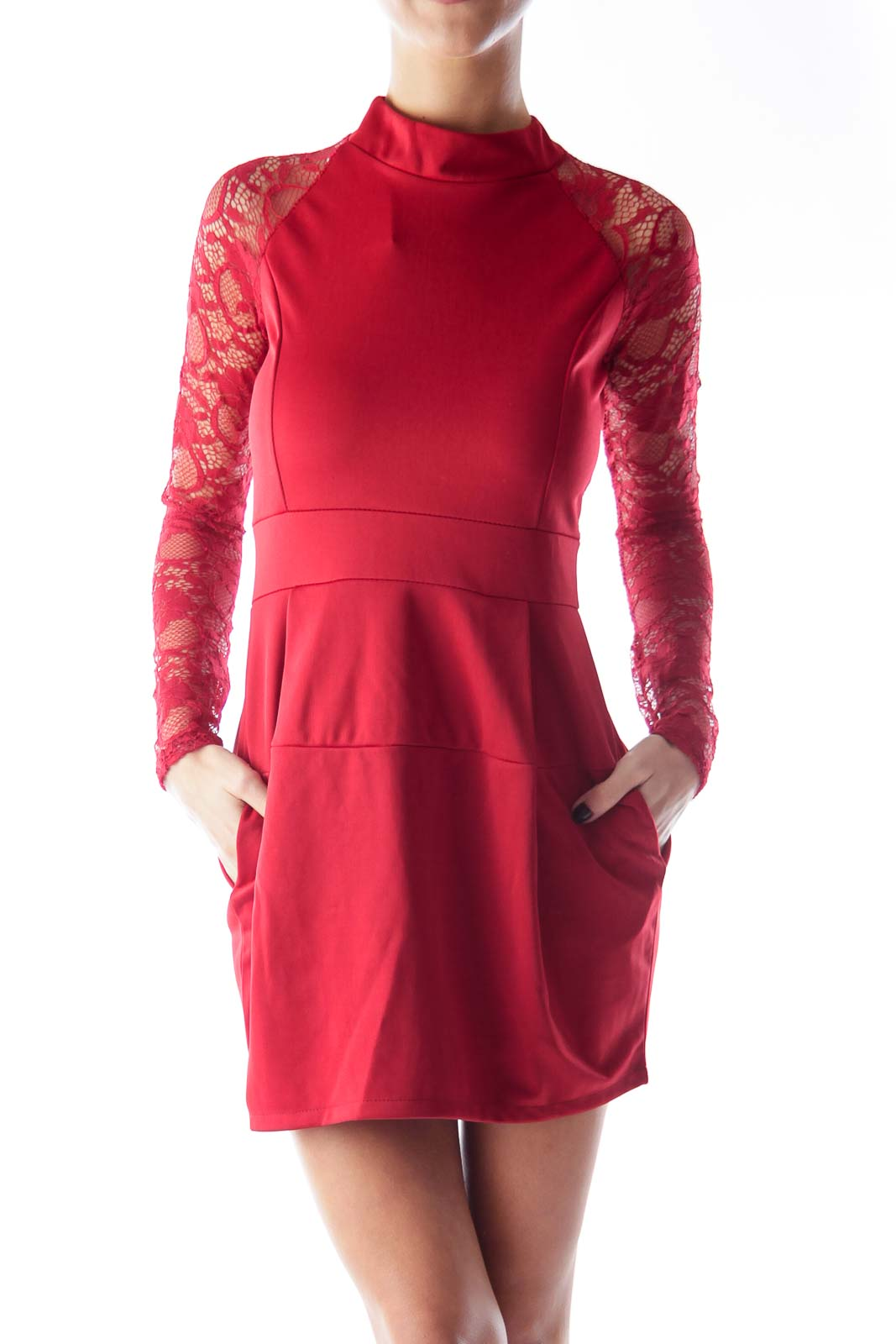 Red Lace A Line Dress Front