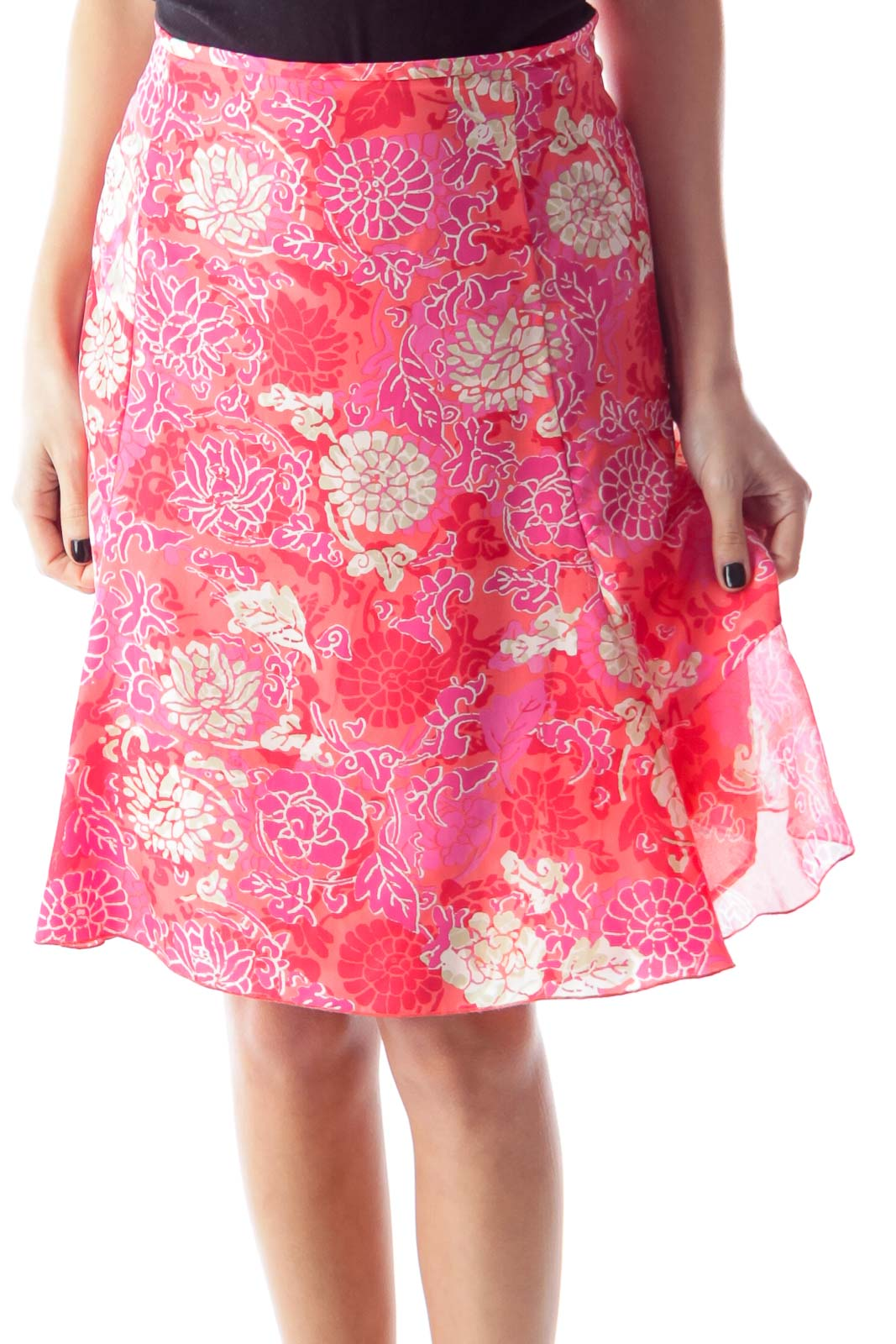 Pink Floral Mini Skirt Front