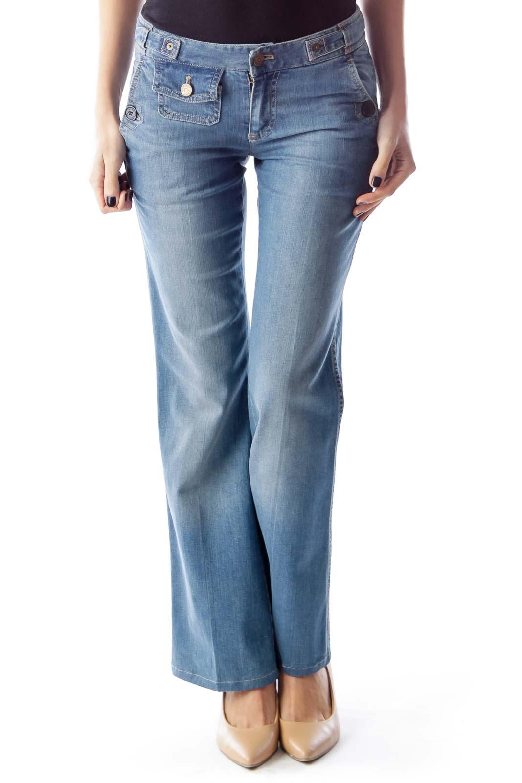 Light Blue Flare Jeans Front