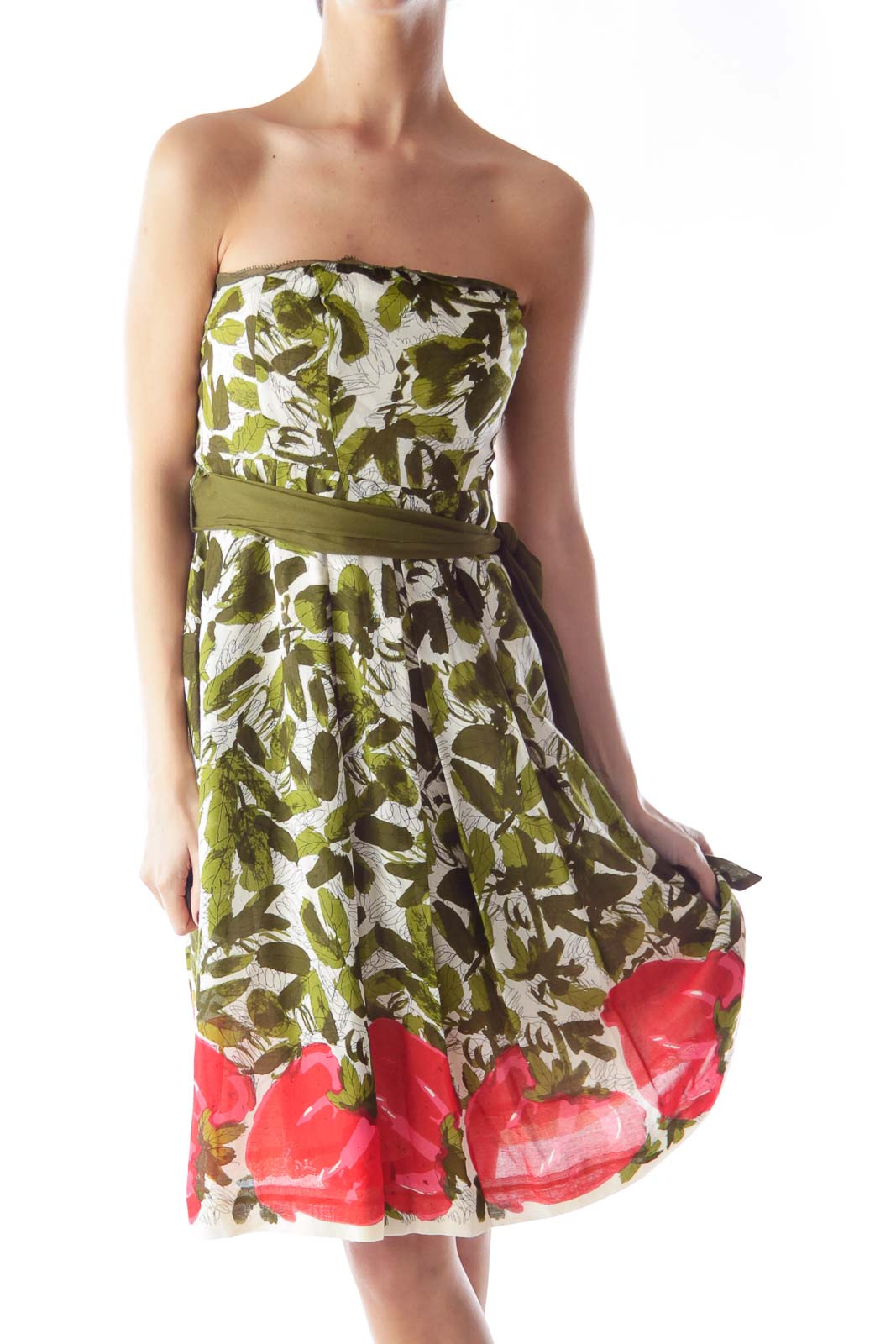 Print Floral Strapless Dress Front