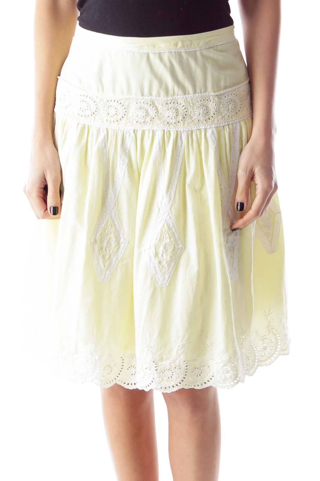 Yellow Lace Skirt Front