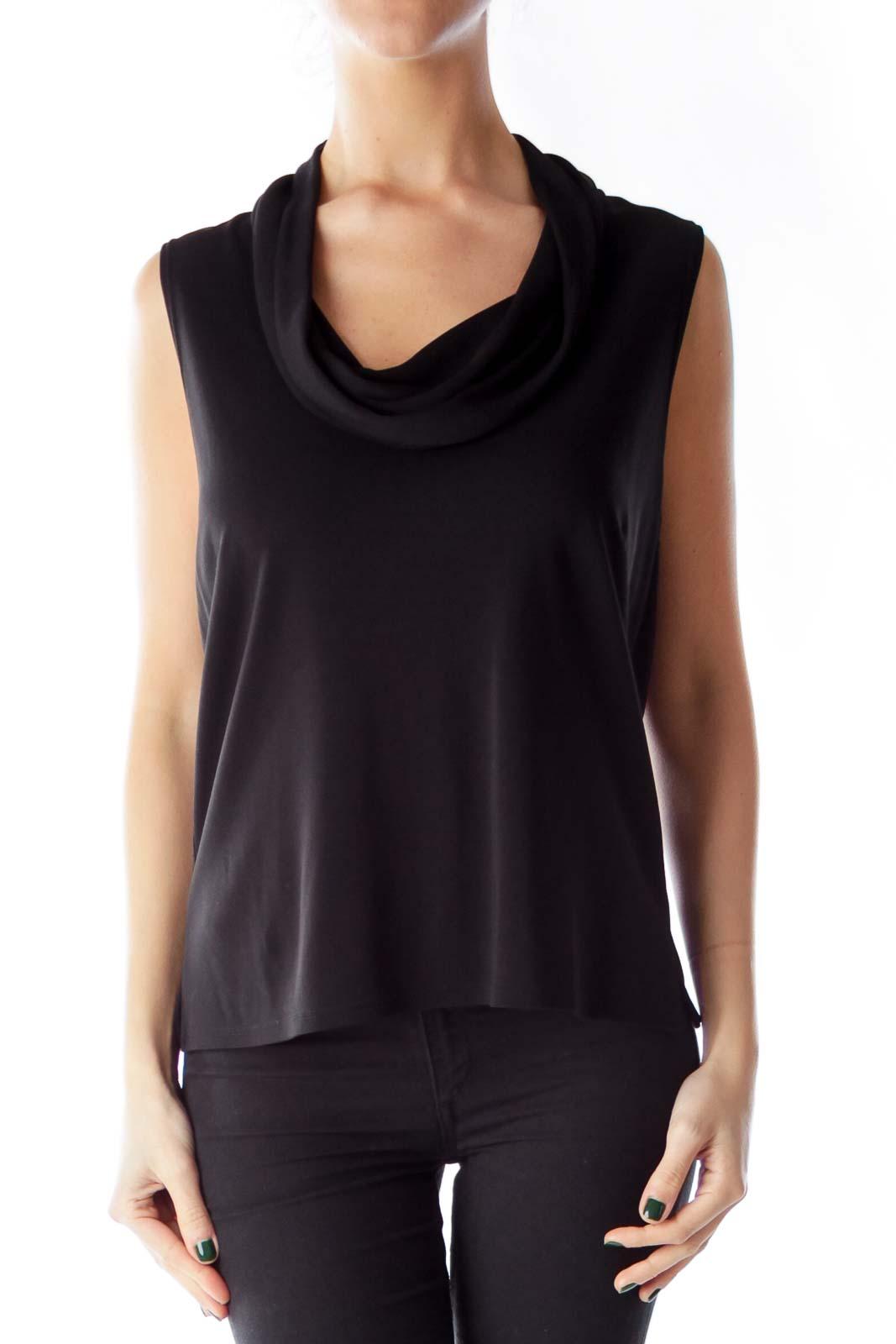 Black Cowl Neck Shirt Front