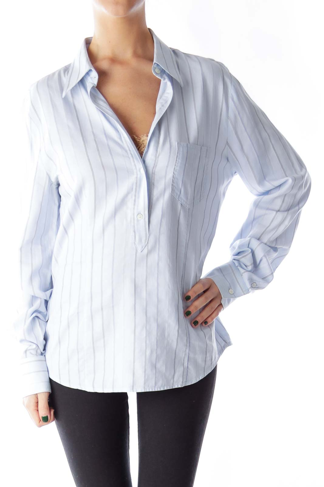 Blue Pinstripe Lace Shirt Front