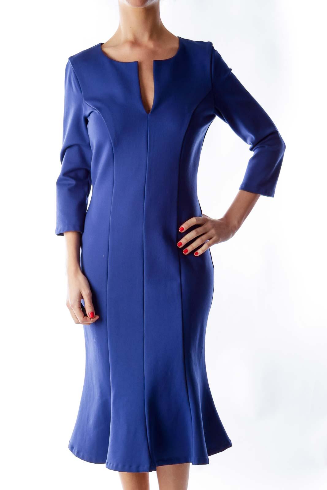 Blue Midi Trumpet Dress Front