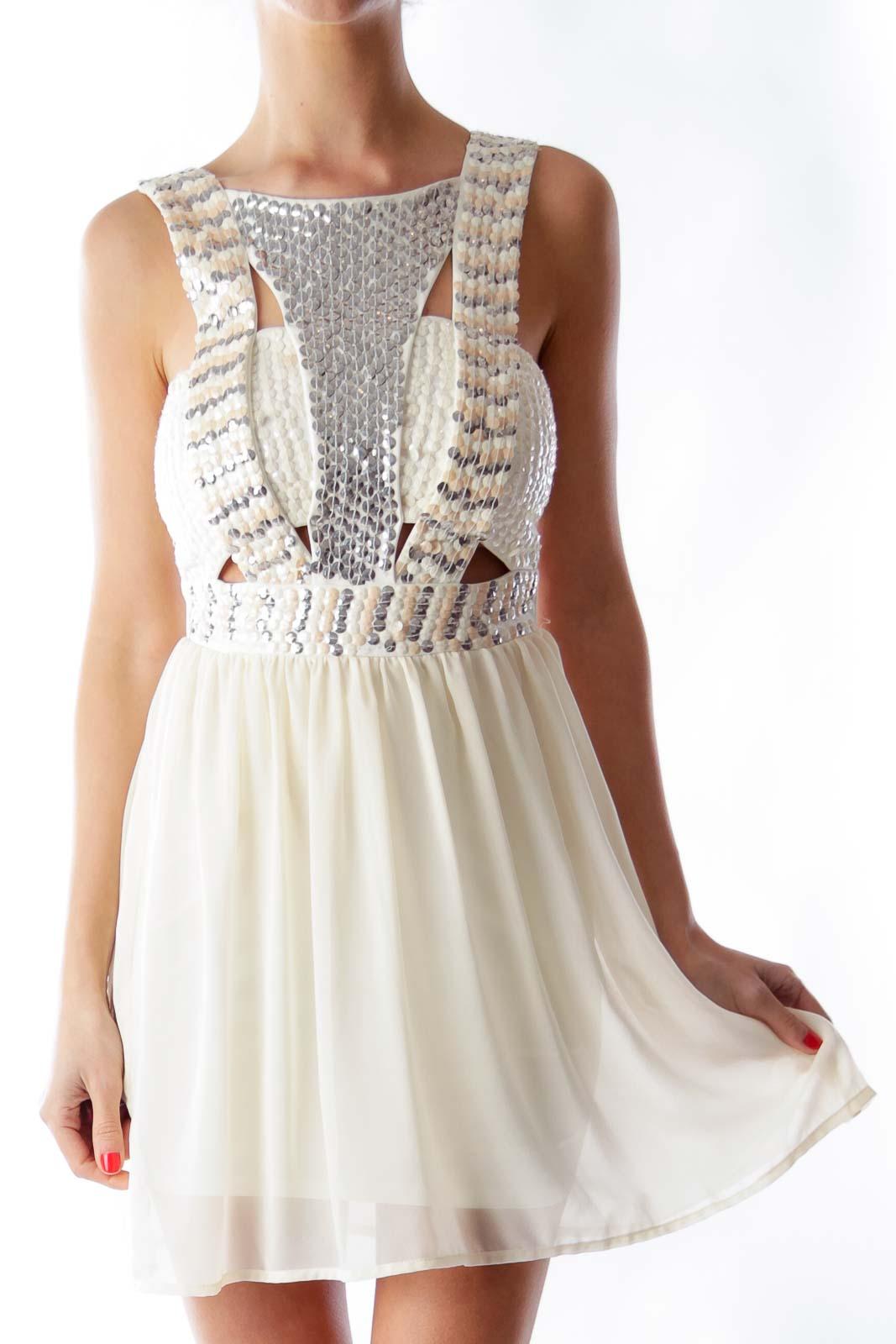 Beige Sequin Dress Front