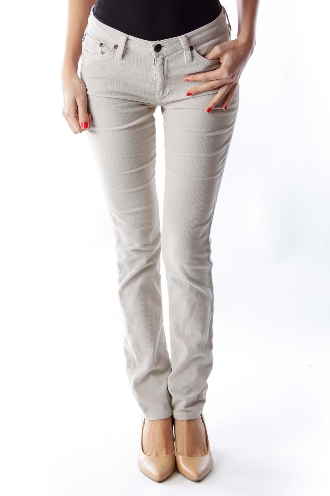 Beige Corduroy Pants Front