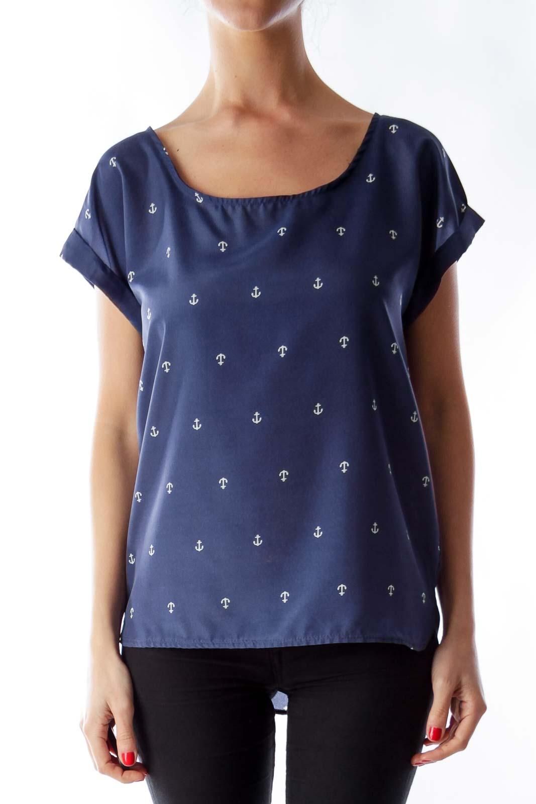 Blue Anchor Print Shirt Front