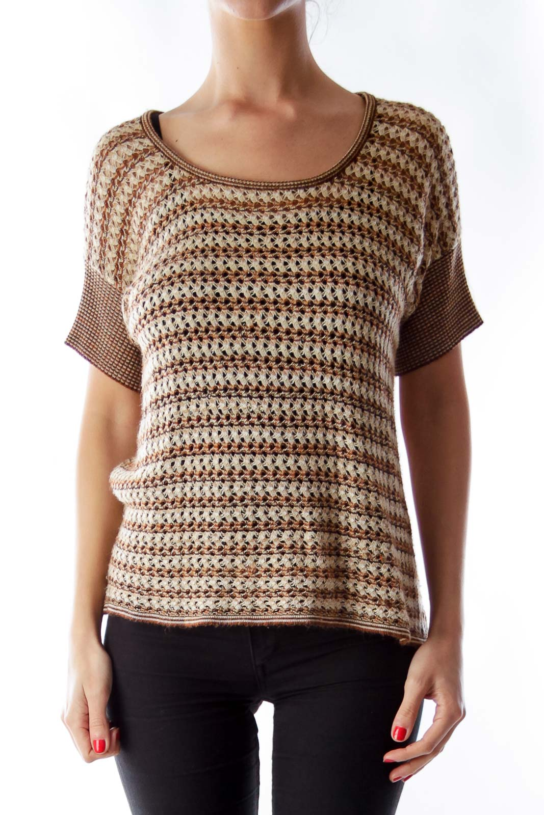 Brown & Beige Tricot Shirt Front