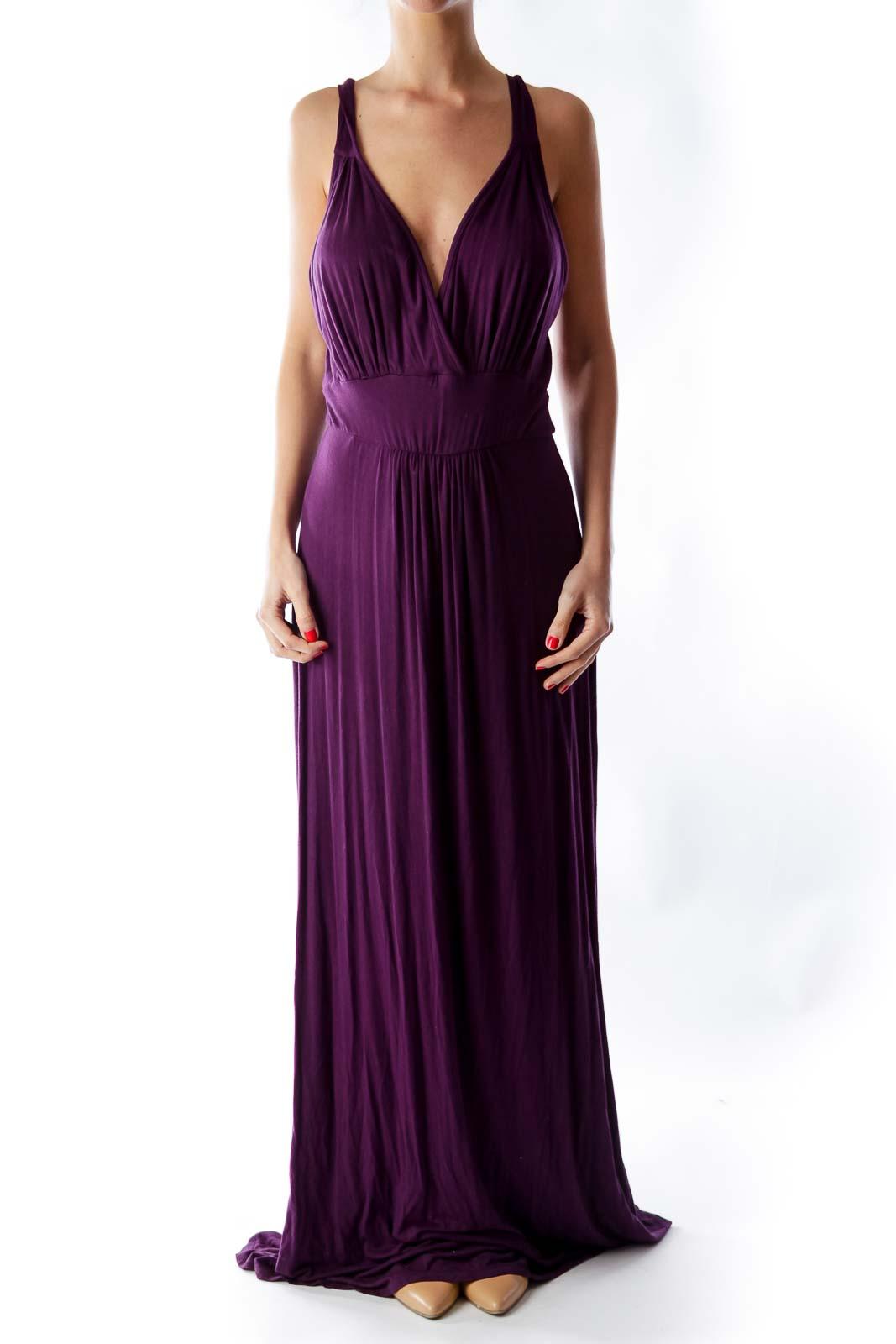 Dark Purple Maxi Dress Front