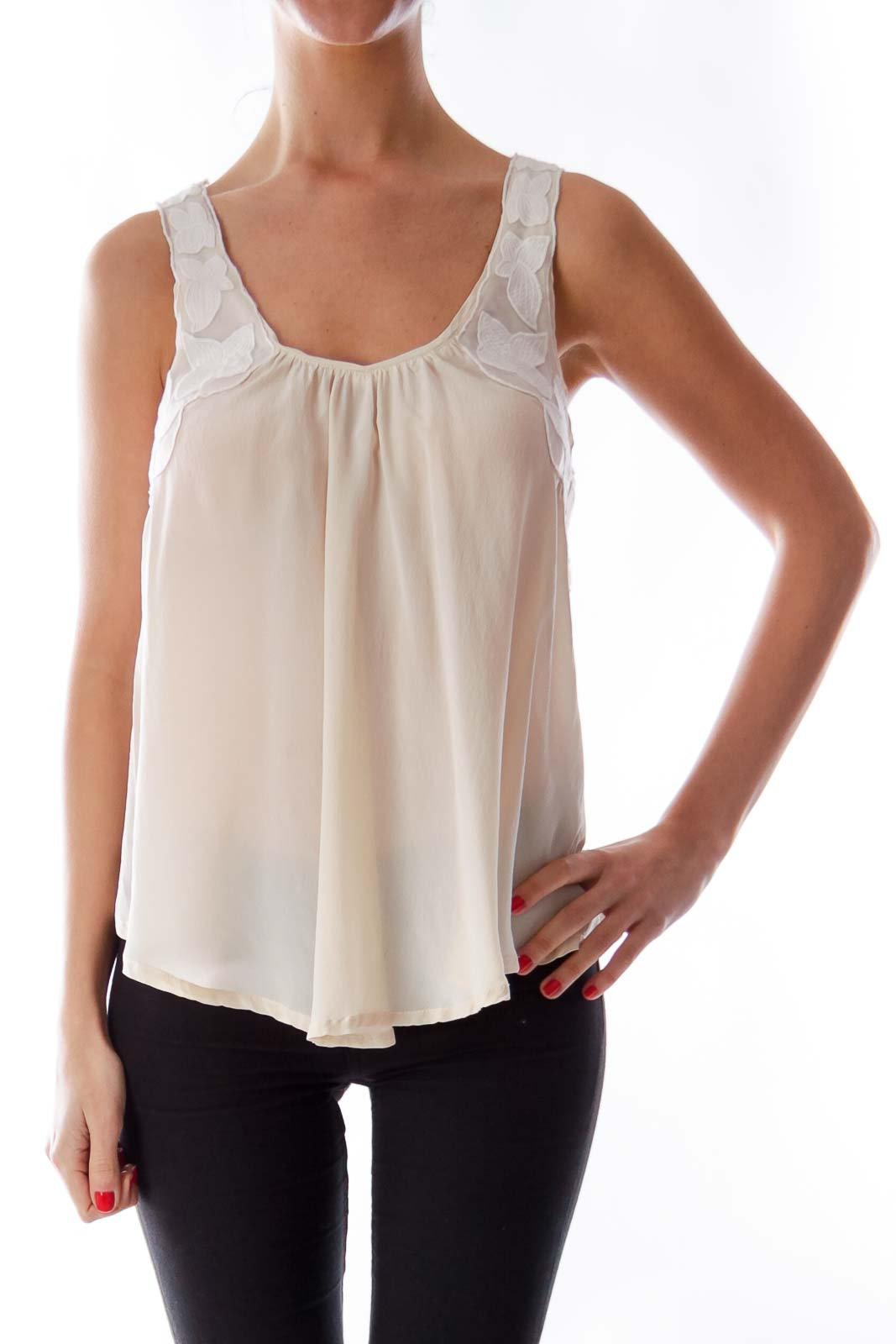 Beige Floral Application Top Front
