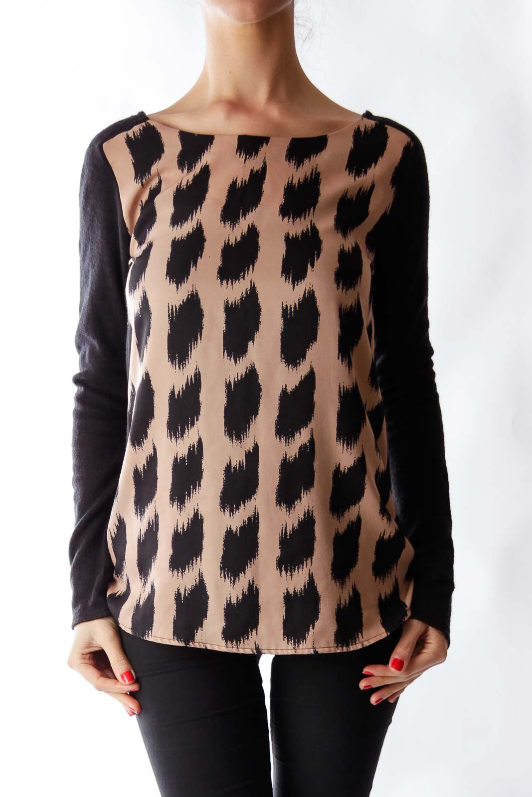 Black & Beige Print Shirt Front