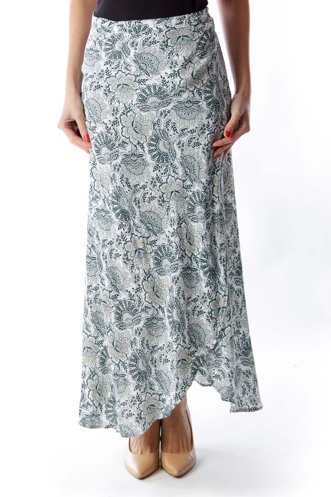 Green Print Wrap Skirt Front