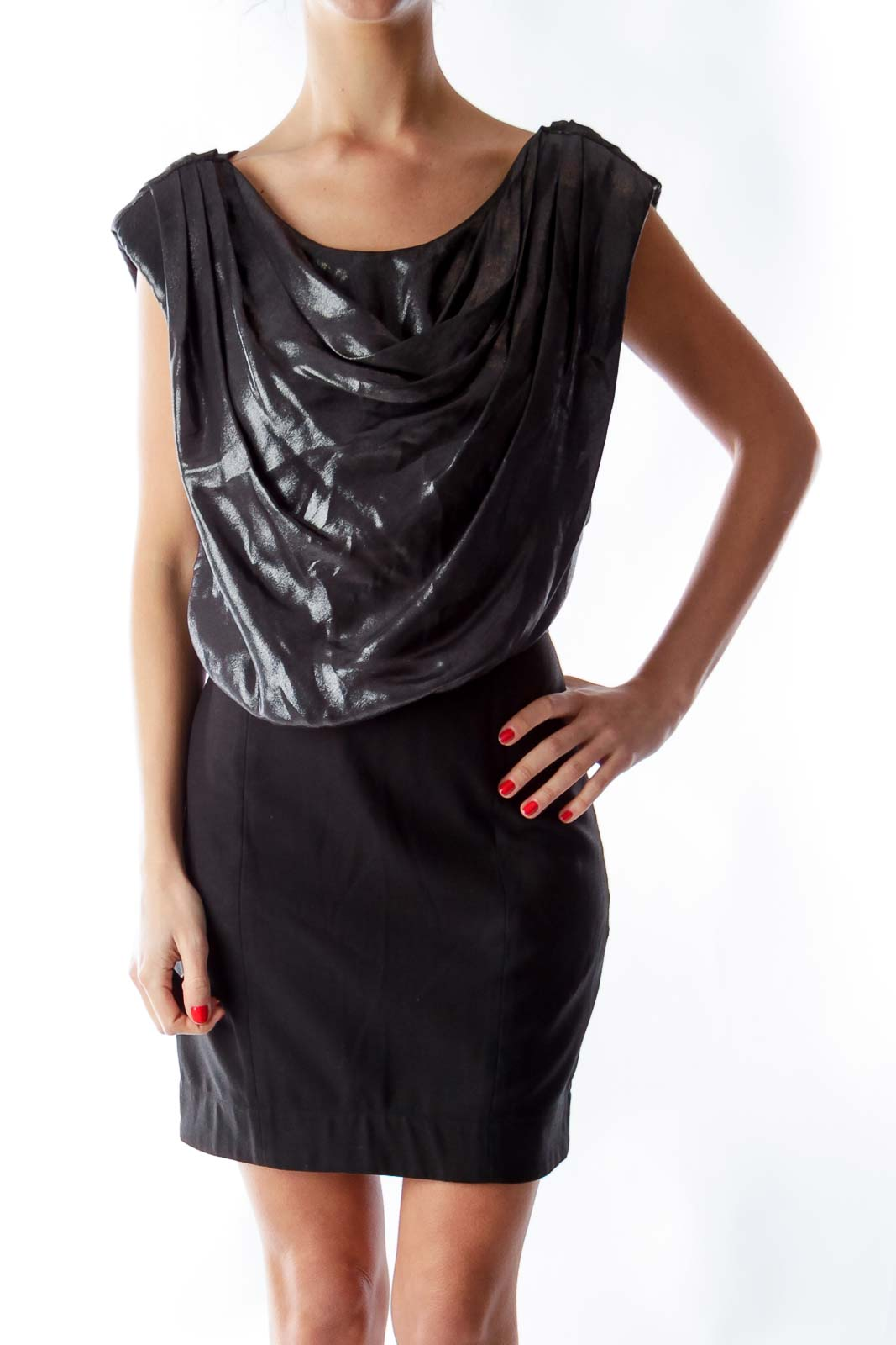 Black & Silver Draped Dress Front