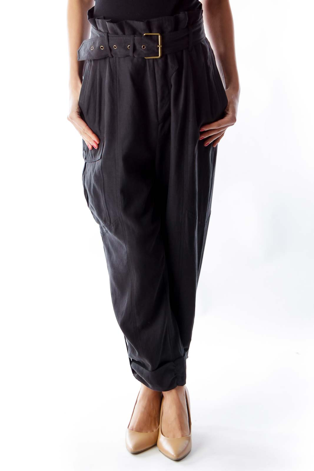 Black Silk Pants Front