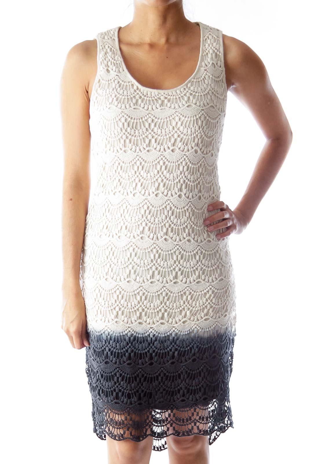 Beige & Blue Faded Crochet Dress Front