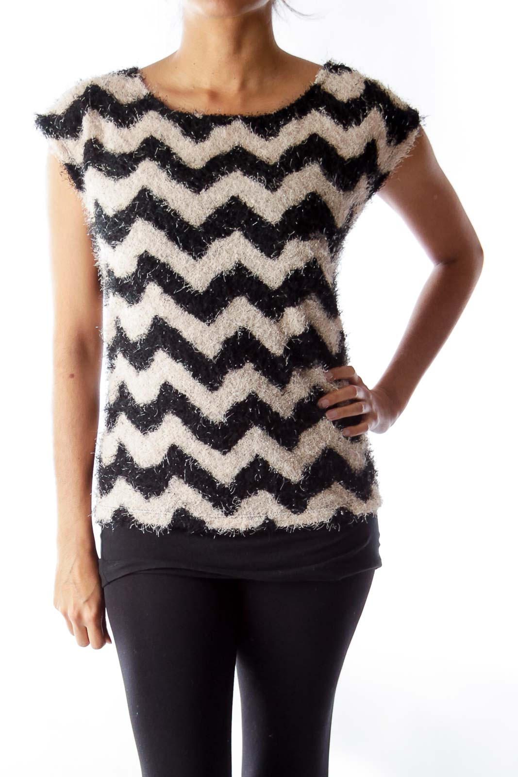 Beige & Black Chevron Top Front