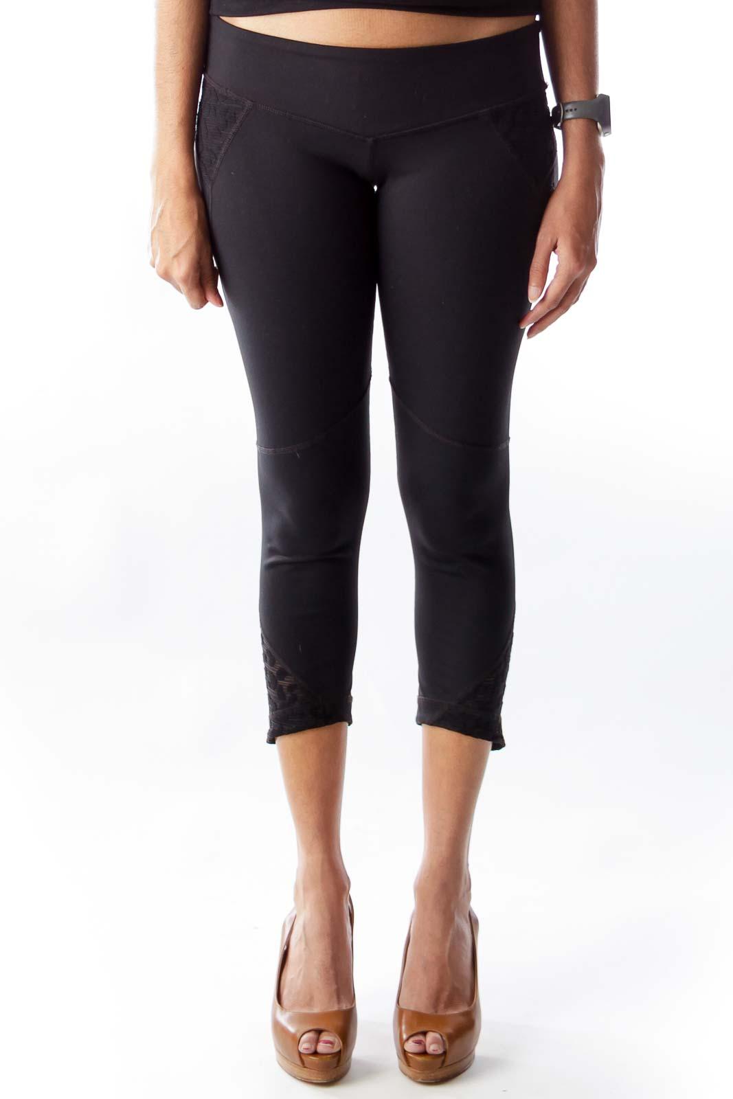 Black Lace Detail Leggings Front