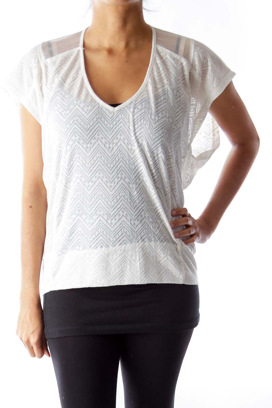 Cream Chevron Shirt Front