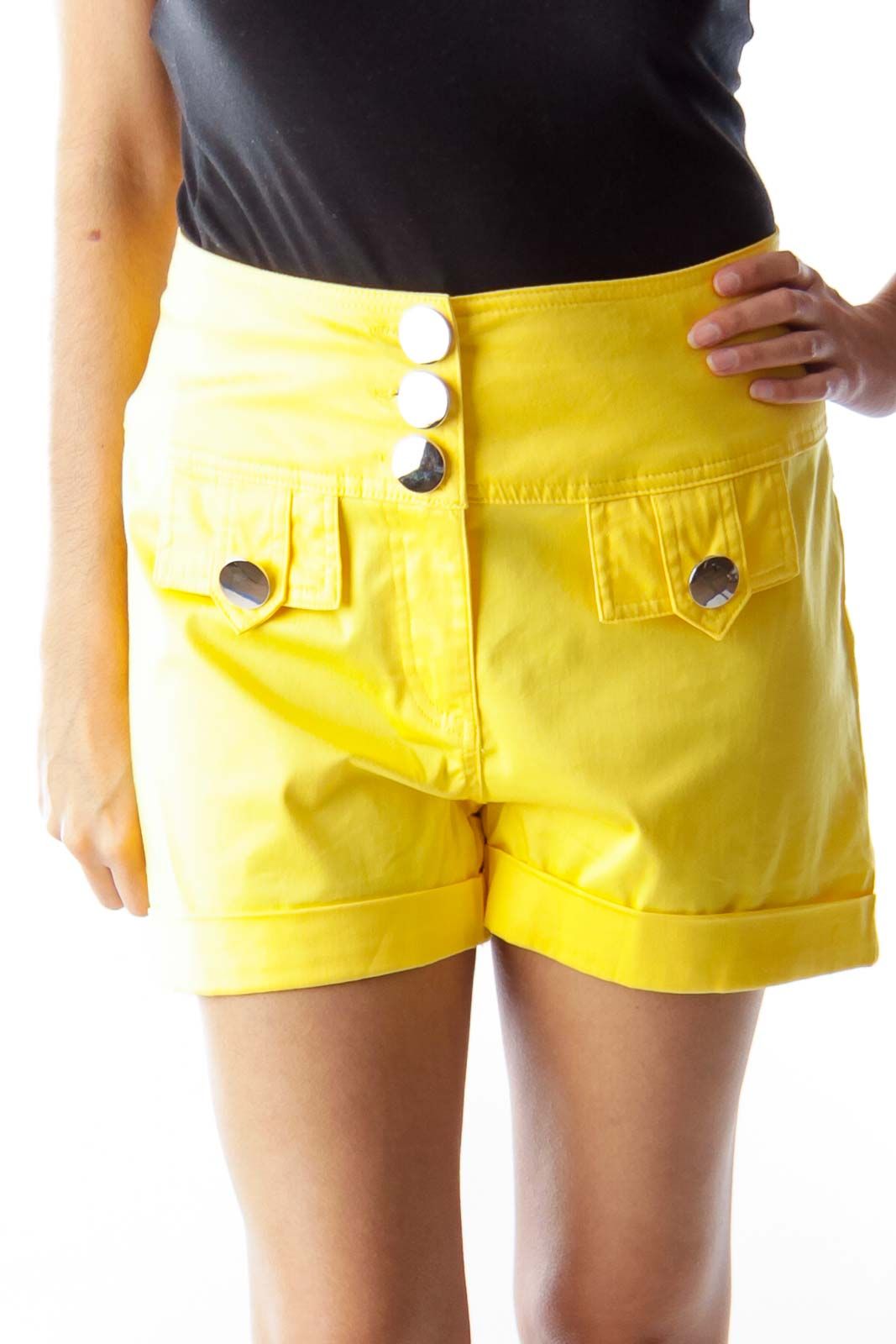 Yellow Waisted Shorts Front