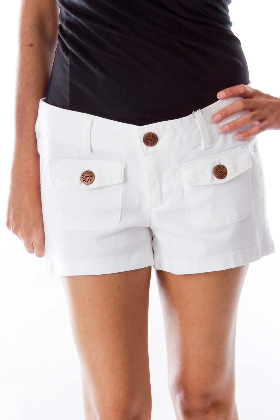 White Denim Shorts Front