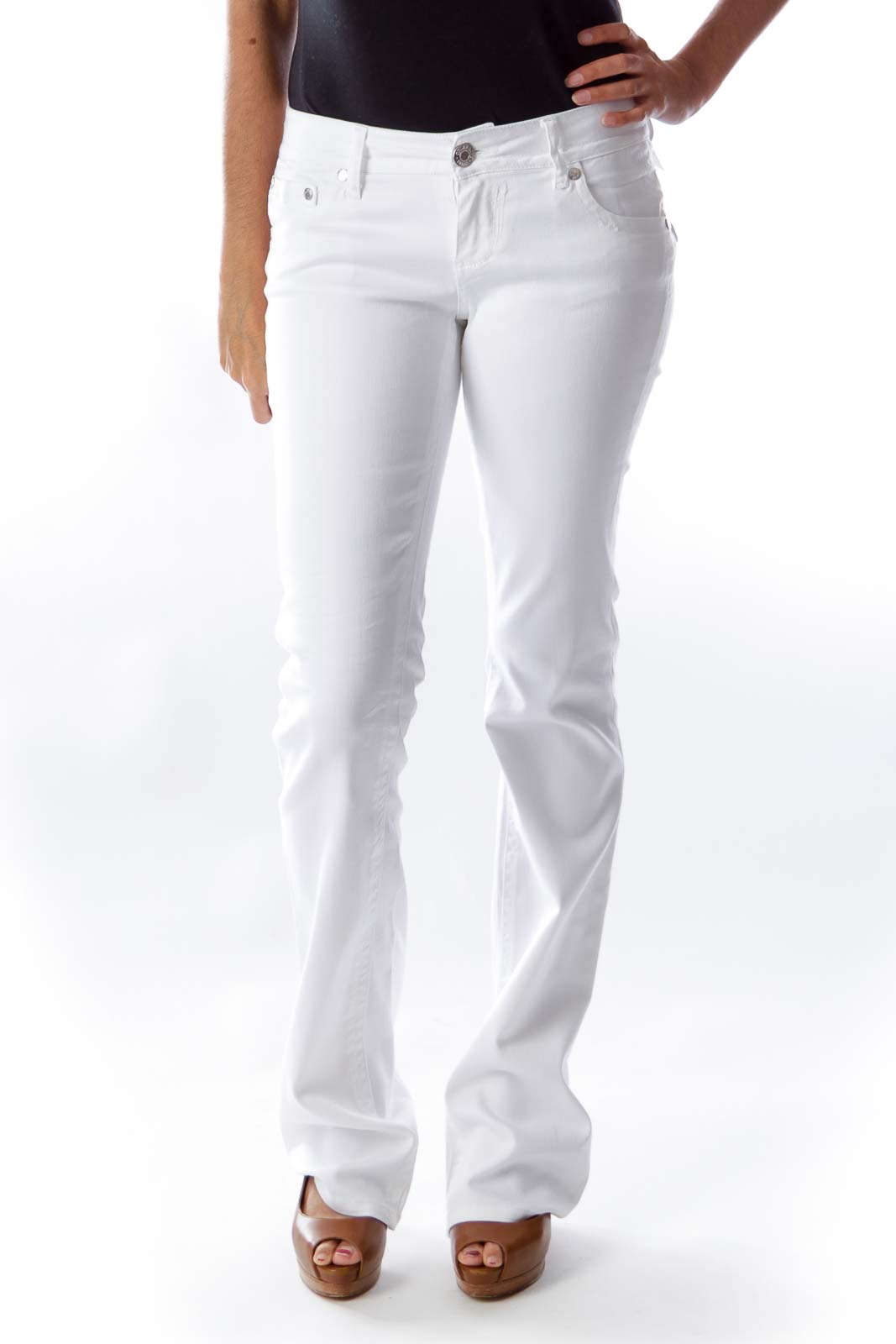 White Flare Pants Front