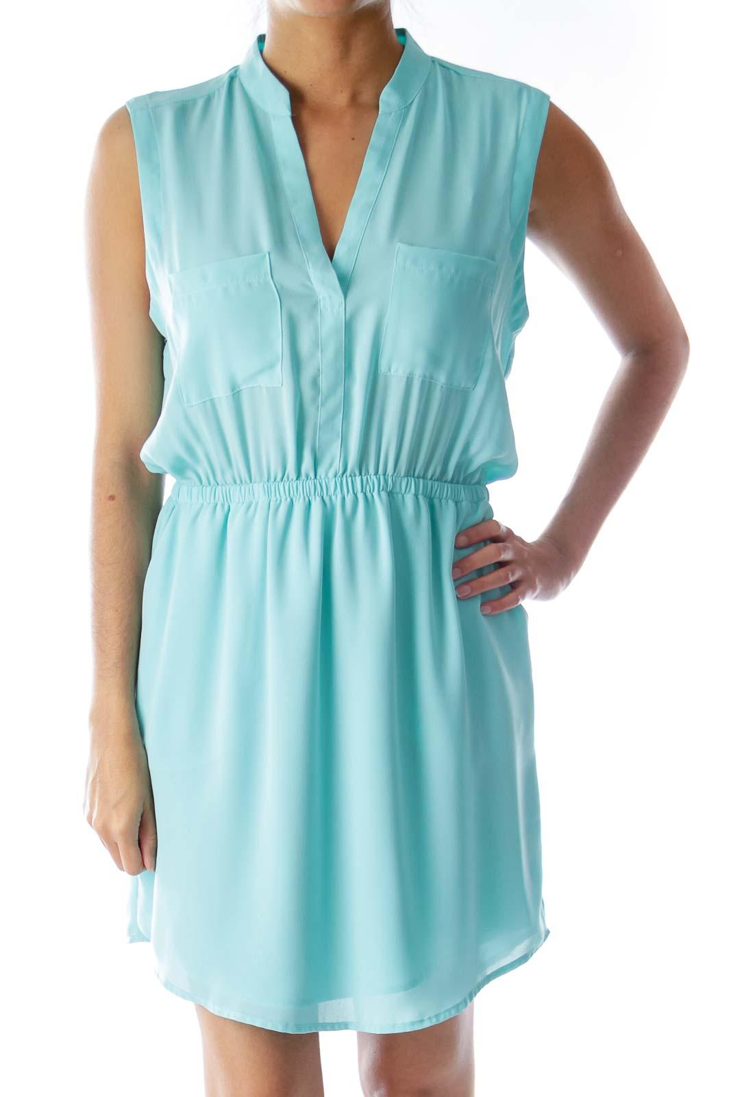 Mint Green Cut Back Dress Front