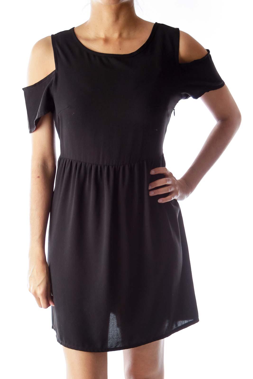 Black Open Shoulder Mini Dress Front