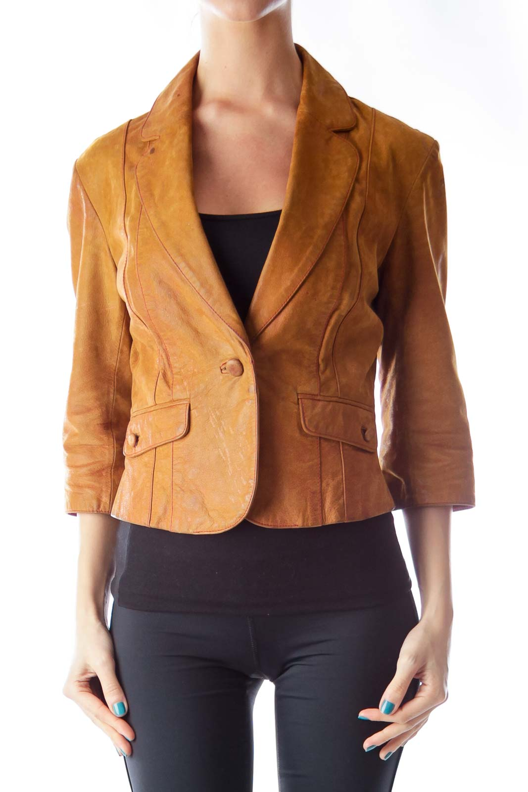 Camel Cuir Leather Jacket Front